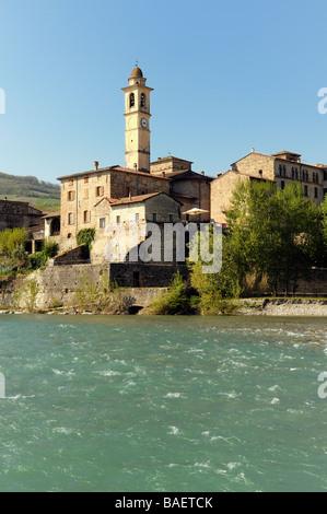 The mountain town of Travo in the Val Trebbia, Piacenza, Italy - Stock Photo
