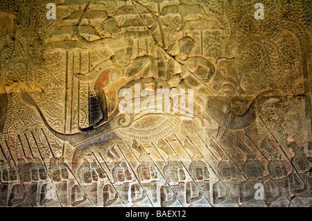 Army of King Suryavarman II in movement South Gallery Angkor Wat Siem Reap Cambodia - Stock Photo