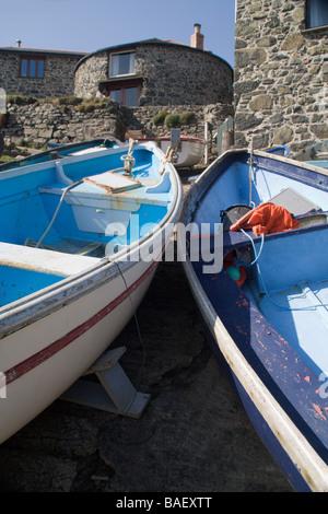 Boats on boat launch at Church Cove, near the Lizard, South Cornwall coast, England - Stock Photo