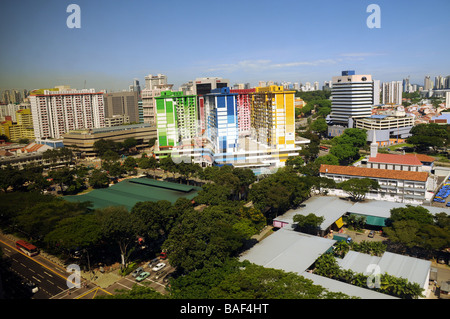Singapore, A colourful block of flats. can only grow upwards now, hence so many tower blocks,and people live in apartments only