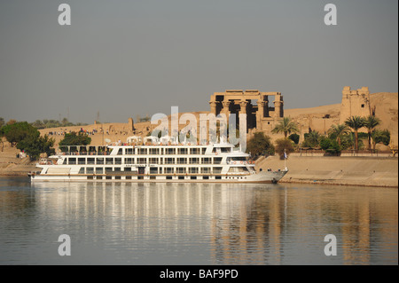 Africa Egypt An Abercrombie and Kent Nile River Cruise ship near the Temple of Sobek and Haroeris in Kom Ombo - Stock Photo