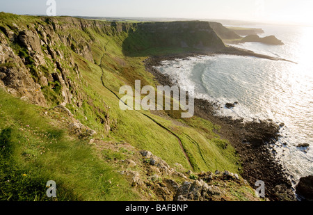 Cliff Path Western View. A view along the cliff path toward the Causeway point and the setting sun. - Stock Photo