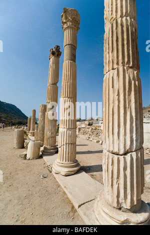 Reconstructed Columns. A row of marble columns in a rare quiet corner of the ancient Greek colonial city. - Stock Photo