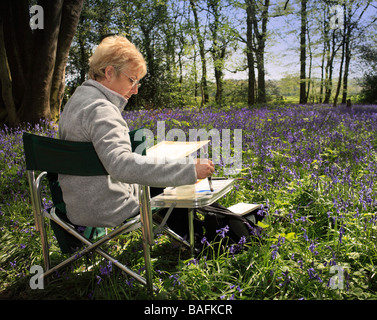 Woman painting a bluebell scene. Staffhurst Woods, Surrey, England, UK. - Stock Photo