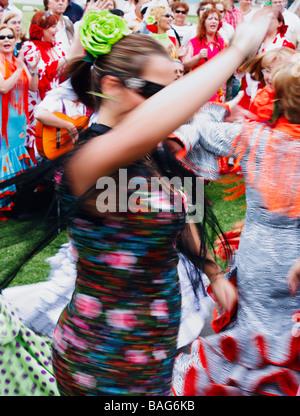 Flamenco dancers at fiesta in Spain - Stock Photo