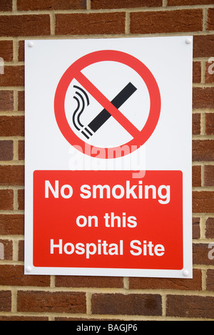 No smoking sign at an English Hospital - Stock Photo