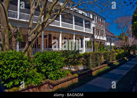 Balconies, the essential in Southern lining on homes in Charleston South Carolina USA North America