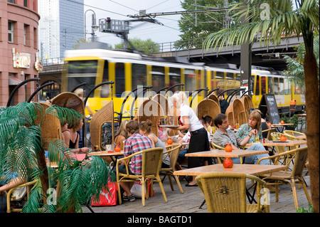 Germany, Berlin, Mitte district, cafe at S-Bahn Hackescher Markt station - Stock Photo