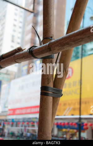 Typical bamboo scaffolding (detail) wide used in Hong Kong - Stock Photo