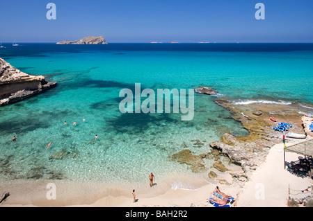 Spain, Balearic Islands, Ibiza island, Cala Comte - Stock Photo