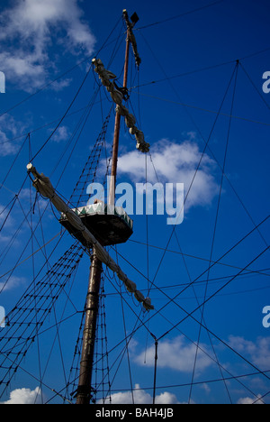 Mast of the sailing ship on the blue sky - Stock Photo