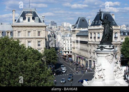 France, Paris, Marianne statue on the Place de la Republique - Stock Photo