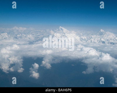 Mount Everest summit  aerial view taken from aircraft  Nepalese Himalayas Nepal Asia Horizontal 90566_Nepal_Everest - Stock Photo