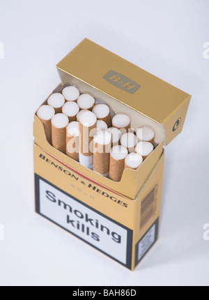 cigarette packet  benson hedges cigarette's - Stock Photo