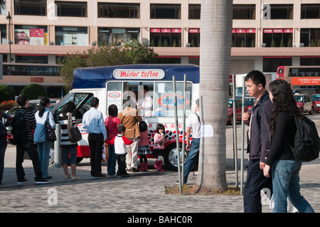 During summer vans selling ice cream are a common sight in Hong Kong - Stock Photo