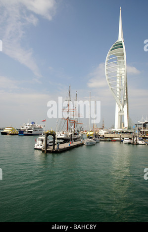 Spinnaker Tower overlooking Portsmouth Harbour southern England UK - Stock Photo