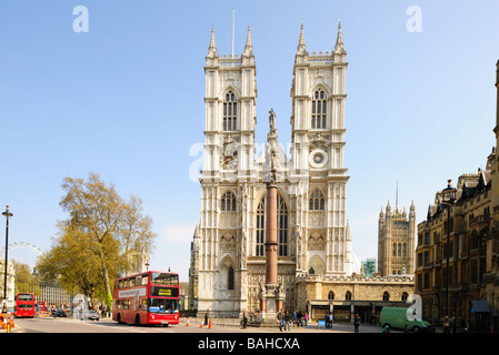 Front facade of Westminster Abbey London England UK on a sunny day - Stock Photo