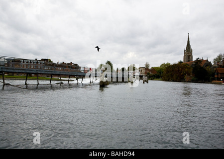 view of the weir at Marlow on the River Thames - Stock Photo