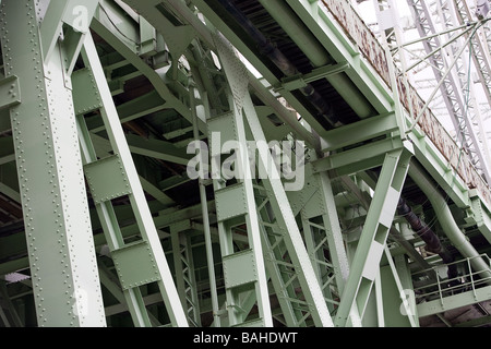 A small section of the Runcorn Widnes bridge looked at from underneath the Runcorn side - Stock Photo