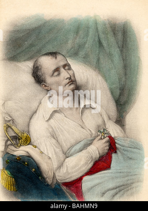 Napoleon 1st on his death bed holding the Cross of the Legion of Honour to his heart St Helene 1821 - Stock Photo
