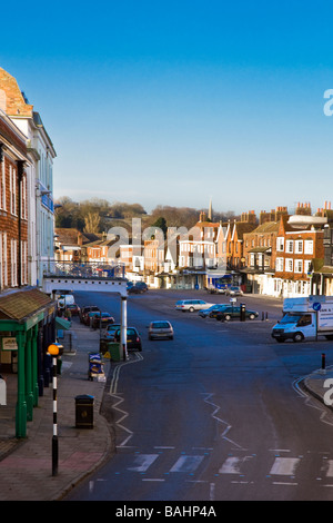 View looking down along the High Street in the typical English market town of Marlborough Wiltshire England UK - Stock Photo