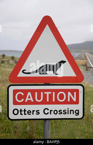 Port nan Long United Kingdom Scotland GB Eriskay causeway Outer Hebrides With Otter Otters crossing road sign - Stock Photo