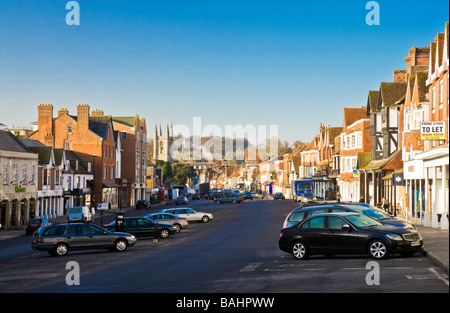 The High Street in the typical English market town of Marlborough Wiltshire England UK This is the widest high street - Stock Photo
