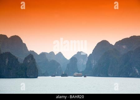 Misty morning views of Ha Long Bay Vietnam - Stock Photo