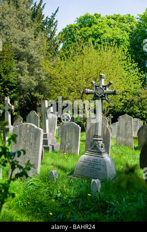 Spring in Hampstead Village , graves in Saint John - at - Hampstead Parish Church Cemetery or Burial Ground acquired - Stock Photo