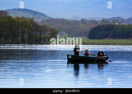 People fishing on the Lake of Menteith, Stirlingshire, Scotland. - Stock Photo