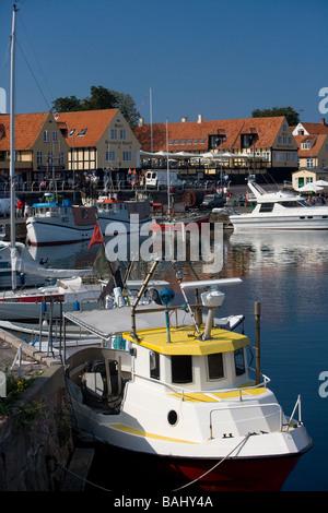 Svaneke Harbour in Bornholm Denmark - Stock Photo