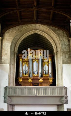 Cambridge, England, UK. St Mary the Great Church. Organ (Bernhard Schmidt ) - Stock Photo