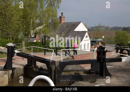 Grindley Brook Whitchurch Shropshire England UK April A cafe at the side of the Llangollen Canal with a staircase - Stock Photo