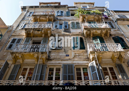 17 century building in Corfu Old Town - Stock Photo