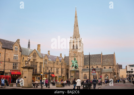 Market Place in city centre with a statue of Neptune and a bronze sculpture of Charles Stewart. Durham County Durham - Stock Photo