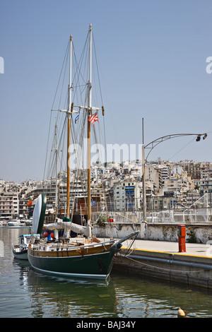 Sail boat in Marina Zea, Piraeus, Greece - Stock Photo