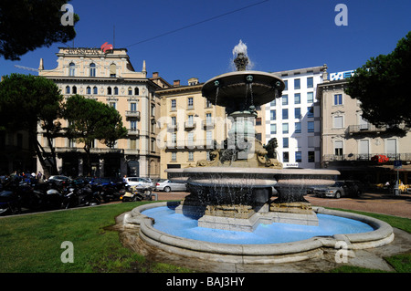 A traditional fountain in the centre of Lugano, Tessin canton, Switzerland - Stock Photo
