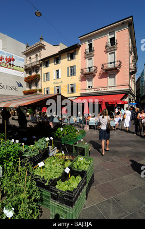 A traditional market in the centre of Lugano, Tessin canton, Switzerland - Stock Photo