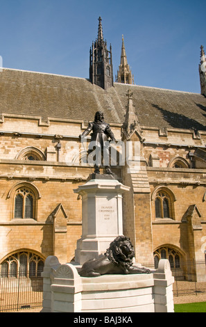 Statue of Oliver Cromwell outside the Palace of Westminster - Stock Photo