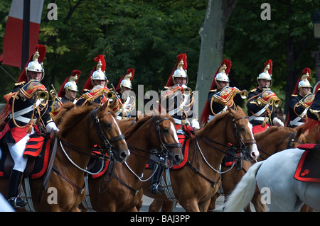 French soldiers on horse during the 14th of July Bastille day military parade in central Paris, France. - Stock Photo