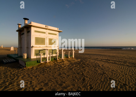 A closed beach restaurant at the beach of Maspalomas Gran Canaria Canary Islands Spain - Stock Photo