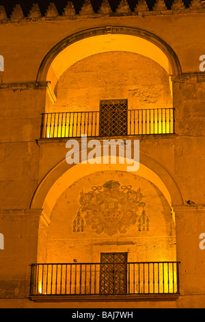 Southern wall of the Mezquita (Cathedral-Mosque) at night in the City of Cordoba,UNESCO World Heritage Site,Province - Stock Photo
