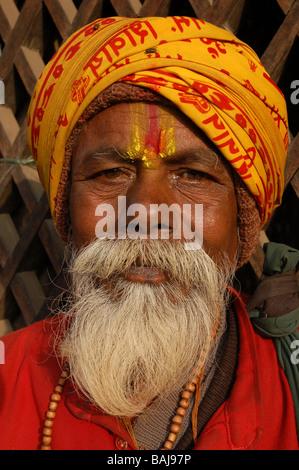 Portrait of a Nepali 'sadhu' in Kathmandu, Nepal - Stock Photo