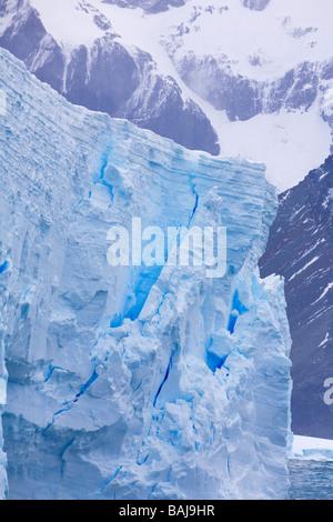 Blue tabular iceberg Cooper Bay South Georgia Antarctica - Stock Photo