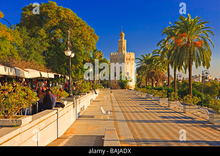 Torre del Oro (Tower of Gold) which also houses Museo  Maritimo (Naval Museum) from along Paseo Alcalde Marques - Stock Photo