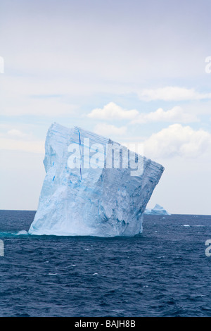 Blue tabular icebergs off South Georgia in Southern Ocean Antarctic Antarctica - Stock Photo