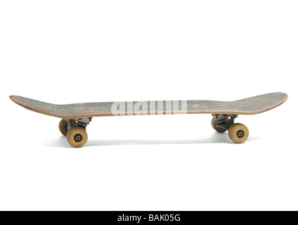 Old skateboard on white background - Stock Photo
