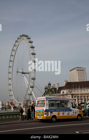 Ice cream van at London Eye. - Stock Photo
