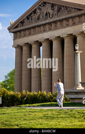 Tai Chi in front of the Parthenon in Nashville Tennessee USA Stock Photo
