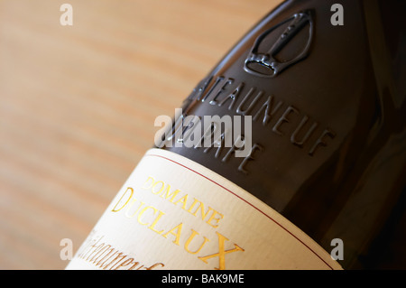 bottle with moulded relief on the neck domaine duclaux chateauneuf du pape rhone france - Stock Photo